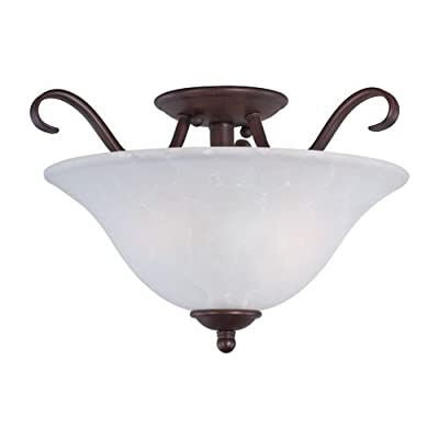 Maxim Lighting 10120ICOI Two Light Ice Glass Bowl Semi-Flush Mount, Oil Rubbed Bronze