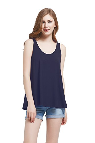 Modal Sleeveless Knit Top (Modeway Womens Modal Soft Jersey Knit Sleeveless Flowy Tank Top(Navy,S) BE04-1)