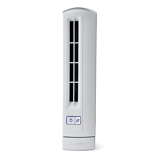 Lasko T14100 Air Stick Ultra Slim Oscillating Fan Tabletop Tower, White ()