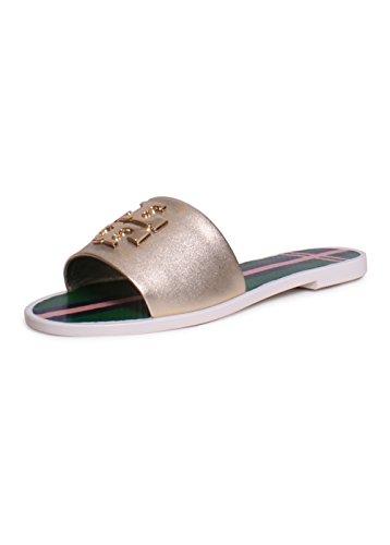Tory Burch Logo Jelly Slide Sandals Spark Gold 7