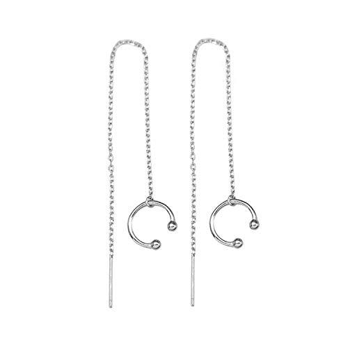 ZLFT 925 Sterling Silver Cuff Chain Earrings Wrap Tassel Earrings Threader Tassel Earrings Clip On Ear Cuff Earrings Dangle Drop Long Earrings for Women Girls Crawler Earrings Post Earrings Best Gift (Drop Ear Posts)