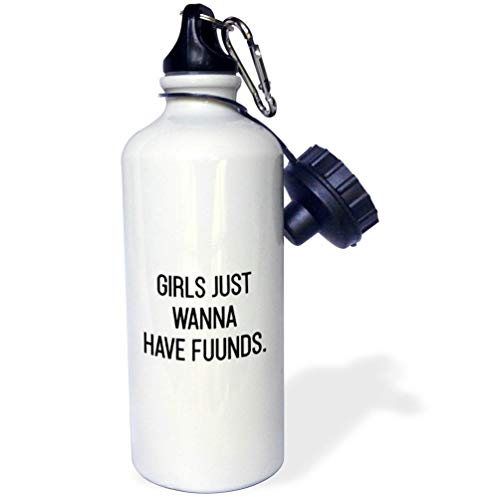 3dRose Tory Anne Collections Quotes - Girls Just Wanna Have Funds - 21 oz Sports Water Bottle (wb_301779_1)