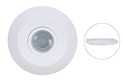 "J.LUMI YCA1050 PIR Based Motion Detector, Infrared Motion Sensor, Slim Design 1"" Thick, 360 Degree Detection, PIR Sensor (110-240V AC, 2000W)"