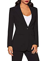 Beyond Travel Women's Wrinkle-Resistant Classic One-Button Solid Color Boyfriend Knit Blazer