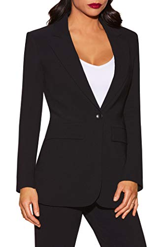 Beyond Travel Women's Wrinkle-Resistant Classic One-Button Solid Color Boyfriend Knit Blazer Jet Black 2 ()