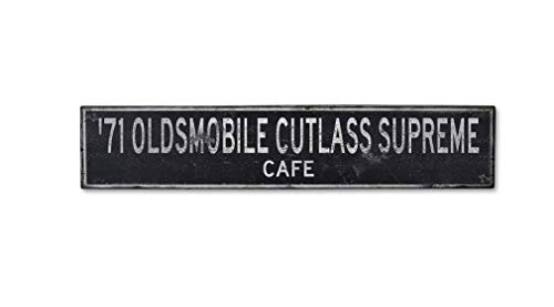 Wooden 1971 71 Oldsmobile Cutlass Supreme Cafe - Rustic Sign - 5.5 x 24 Inches
