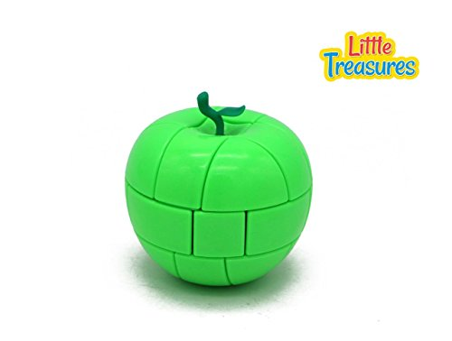Price comparison product image Little Treasures Cube 3 x 3 x 3 Stickerless Green Apple Magic Cube Fruit Shaped Puzzles