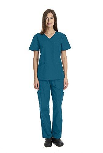 Deluxe 4pk Medical Scrubs for Women Nurse Uniform Set Solid V-Neck, 7 Pocket - Caribbean, Medium by Elaine Karen