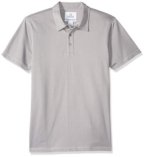 28 Palms Men's Relaxed-Fit Performance Cotton Tropical Print Pique Golf Polo Shirt, Light Grey Solid, X-Large ()