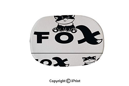 Oval Shaped Decorative Super Soft Design Non Slip Area Rug Carpet Doormat,Fox Logo bw,19.7