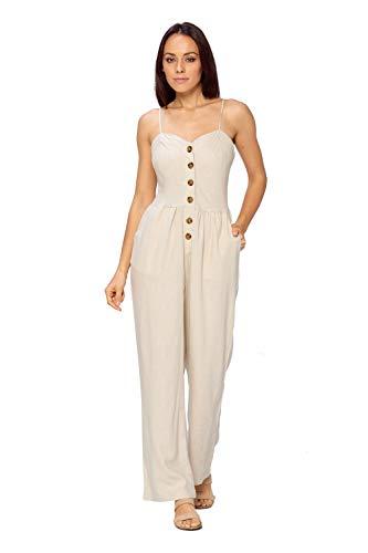 (Ci Sono Women's Button Front Sweetheart Neck Wide Leg Spaghetti Strap Jumpsuit (M, Khaki))
