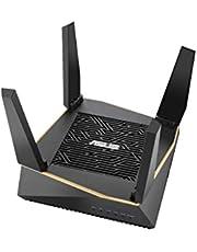 Asus RT-AX92U Router (Ai Mesh WLAN-systeem, WiFi 6 AX6100, Tri-Band, 4x Gigabit LAN, 1.8 GHz DC CPU, AiProtection, USB 3.0, 160 MHz, per stuk verpakt