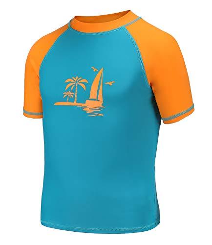 HowJoJo Big Boys Short Sleeve Swim Shirt Rash Guard Shirts Rashguard UPF 50+ Blue 14T ()