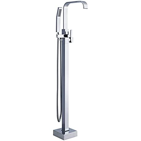 JiaYouJia Floor Mounted Tub Filler With Personal Hand Shower Floor Mounted Tub Filler With Personal Hand Shower Chrome