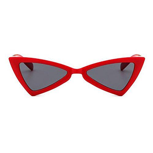 Hombres rojo de sol moda Mujeres gris de sol Huicai Triángulo pequeñas de Gafas Gafas 5FH1x7wq