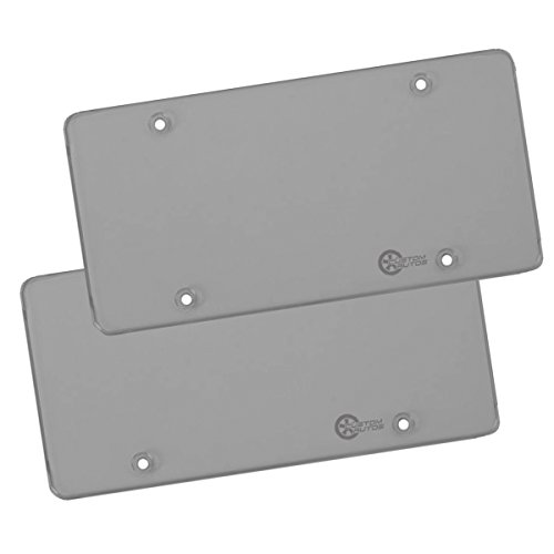 Custom Autos Clear Smoked License Plate Shields - 2-Pack Novelty/License Plate Clear Smoked Flat Shields Custom Novelty License Plate