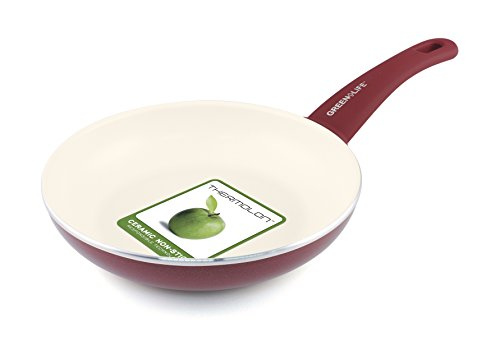 "GreenLife Healthy Ceramic Non-Stick 8"" Open Frypan, Red"