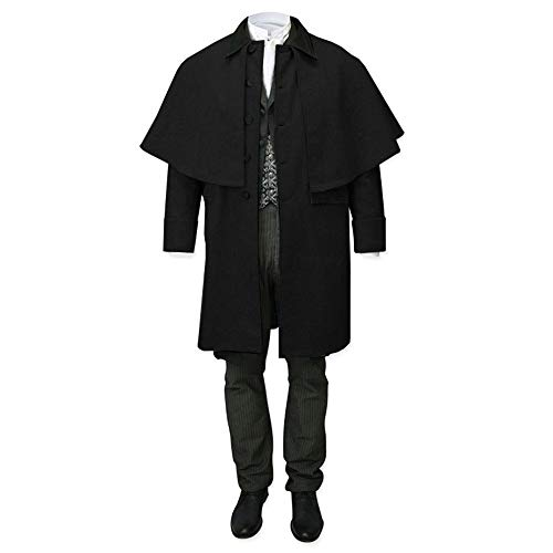 Gtealife Mens Capecoat Costume Button Down Victorian Wool Trench Inverness Cape with Pockets (Black, XL)