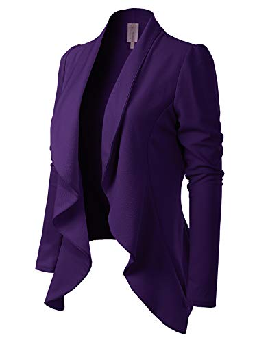 (MixMatchy Women's [Made in USA] Solid Formal Style Open Front Long Sleeves Blazer (S-3X) Plum 2XL)