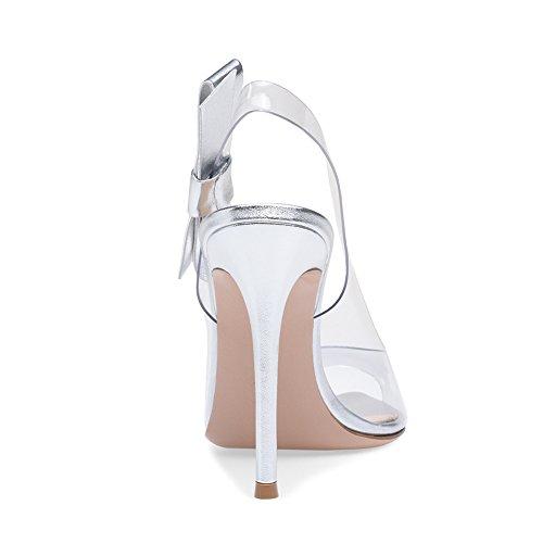 Hauts Silver yy Pvc De Talon Femme Du Talons Lyy Pour Avec À hauteur Couture Bow Chaussures Et 13cm 11 Sandales En Transparentes Des O8wBxxqCfd
