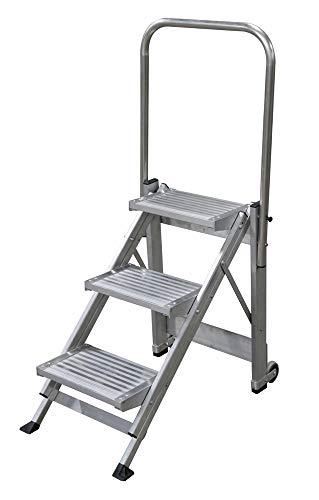 KTL Taburete-Escalera Industrial de Aluminio Plegable 3 peldanos con barandilla Serie k-Fold
