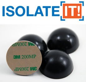"""1"""" Sorbothane Hemisphere Rubber Bumper Non-skid Feet with Adhesive 50 Durometer - 4-Pack"""