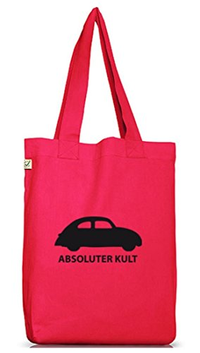 Shirtstreet24 Absoluter Kult - Auto - Folded Cotton Rose Woman Bag - Fluorescent Pink