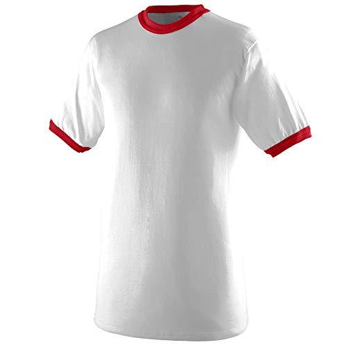 Augusta Sportswear Men's Ringer tee Shirt, White/Red, Medium ()