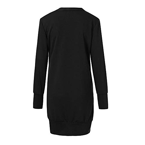 Cardigan Button Plus Long Front Sleeve Loose Tops Black Fashion Casual DOLDOA Sweater Down Open Drape Womens X0TSqS