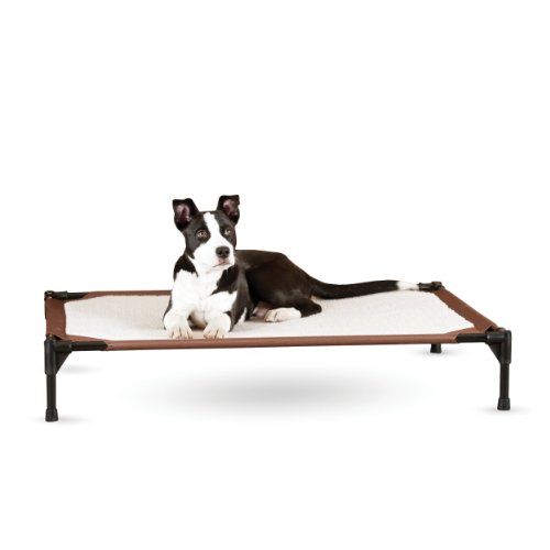 """K&H Pet Products Self-Warming Pet Cot Elevated Pet Bed Large Chocolate/Fleece 30"""" x 42"""" x 7"""" -  PET HEATING PRODUCTS INC, 100212990"""