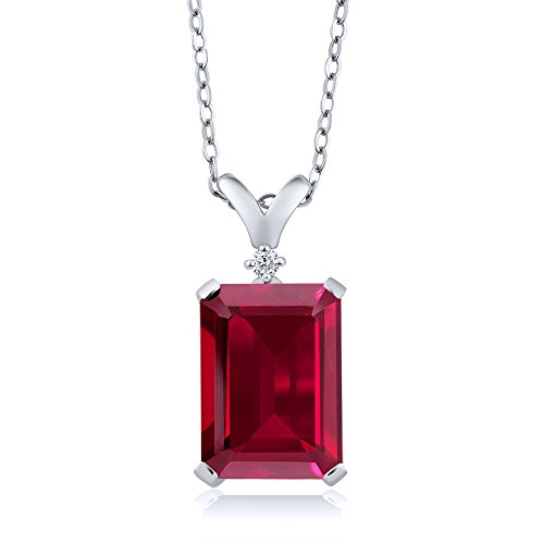 - Gem Stone King 925 Sterling Silver Red Created Ruby and White Diamond Pendant Necklace 8.02 Cttw Emerald Cut with 18 Inch Silver Chain