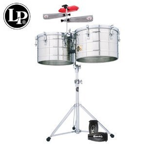 Latin Percussion LP258-S-KIT-2 Tito Puente Thunder Timbs Set - 15-Inch and 16-Inch Stainless Steel Shells with Heavy-Duty Stand, Cowbell Bracket, Timbales Stick, Tuning Wrench, LP201BK-P LP Rumba Shaker, LPES6 and LPES7 Salsa Cowbells and LP1207 Jamblock