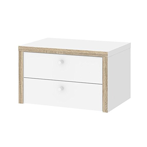 Tvilum Match 2 Drawer Desk Hutch in White and Oak Structure by Tvilum