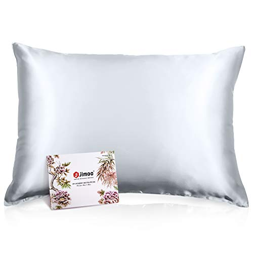 J JIMOO Silk Pillowcase for Hair and Skin,19 Momme,600 Thread Count 100% Mulberry Silk Pillow Cover