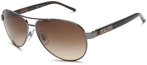 Ralph by Ralph Lauren Women's RA4004 Aviator Sunglasses, Grey,Grey Horn & Brown Gradient, 59 - Lauren Ralph Aviators