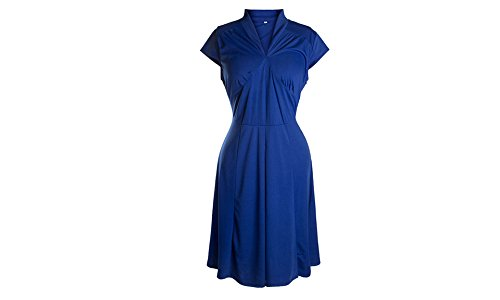 UniqStore Vestidos con Manga corta Vestidos V-cuello Vestidos de fiestas bailes trabajos Vestidos cotidianos Azul