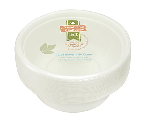 - Eco-Friendly 100% Compostable Sugarcane / Bagasse Heavy Duty Bowls, FDA Approved, 12 Oz. 50 Count