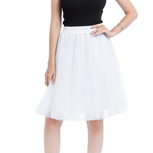 - Fitfuvan Women Skirt 4 Layers Mesh Tulle Skirt Pleated Princess Skirt Mesh Bubble Skirt(White,Free Size)