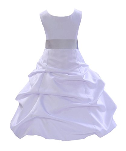 - ekidsbridal Satin Pick-up Bubble White Flower Girl Dress Formal Special Events 806S 6