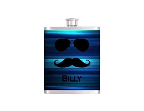 - Personalized Flask Name Monogram on Metallic Blue Stripe Pattern Wallpaper Groomsmen Gift - Stainless Steel 8 oz Liquor Hip Flask - Flask#17