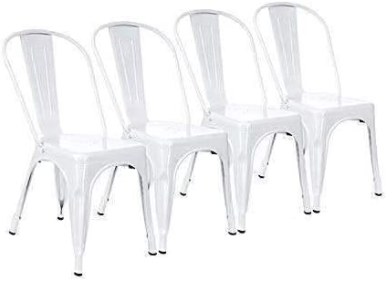 White Industrial Style Metal Dining Chair Metallic Stackable for Dining Room Terrace Kitchen Cafe Shopping Bistro Restaurant Wedding Garden Furniture (Set of 4)