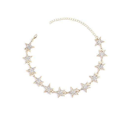 SUNSCSC Boho Punk Stars Crystal Rhinestone Golden Silver Chain Choker Necklace for Women Girl (Star Golden 608)