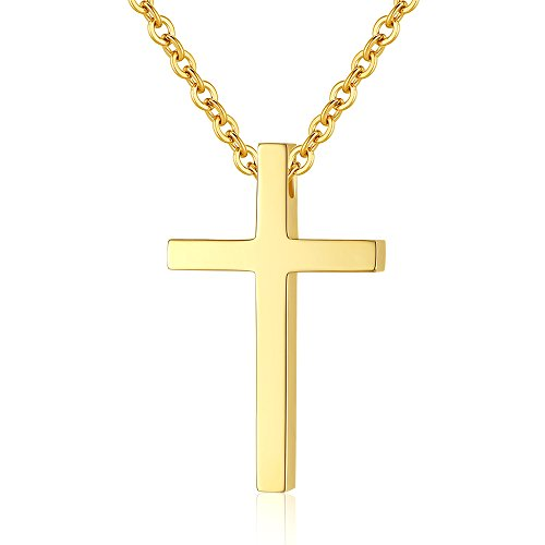 Reve Simple Stainless Steel Cross Pendant Chain Necklace for Men Women, 20'' Link Chain (Gold:1.20.7'' Pendant+20'' Chain)