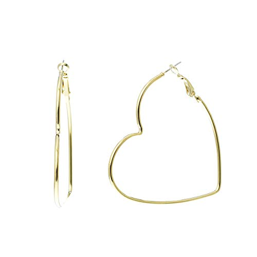 - Rosemarie Collections Large Heart Shaped Hypoallergenic Hoop Earrings (Gold)