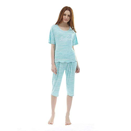 Mujer Ropa Elegante Hogar De A Mujeres Manga Para Informales Fashion Casuales El Cuello Pantalones Corta Pijama Conjunto Dormir Carta Impreso Redondo Camison Verano IwFExgIq