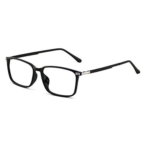 OCCI CHIARI Rectangular Stylish TR90 Frame Metal Leg Non-prescription Fashion Clear Lens EyeGlasses For Men (Black silver) ()
