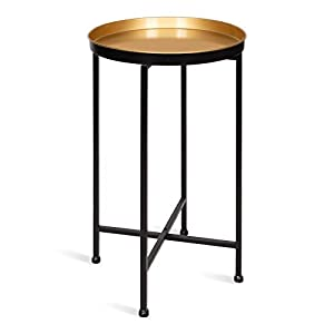 Kate and Laurel Celia Round Metal Foldable Tray Accent Table, 14x14x25.75, Black/Gold