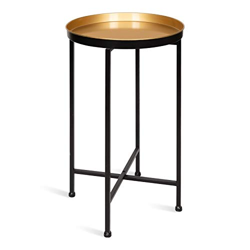 (Kate and Laurel 213956 Celia Round Metal Foldable Tray Accent Table, 14x14x25.75,)