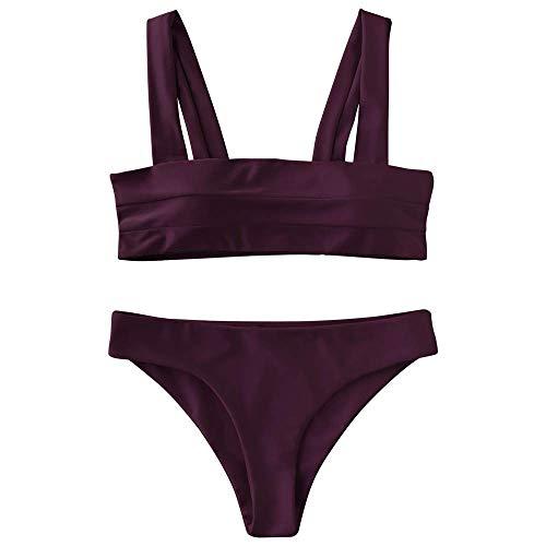 ZAFUL Women's Wide Straps Padded Bandeau Bikini Set (M, Merlot)