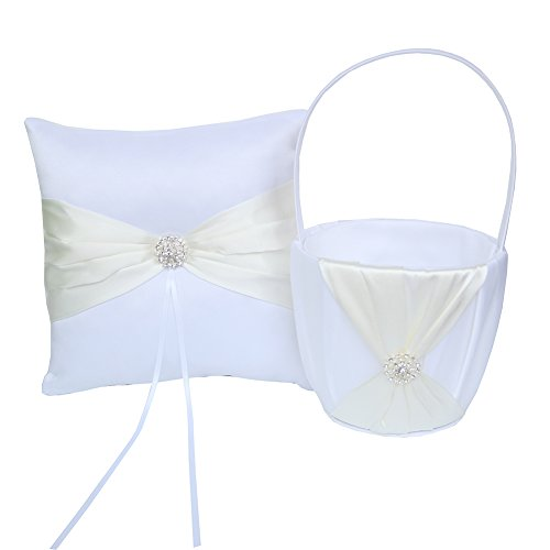 ARKSU Flower Girl Basket 5x8.5 inch and Ring Pillow 7.8x7.8 inch decorated with Rhinestones for Rustic Wedding Shower Ceremony Party-Ivory ()